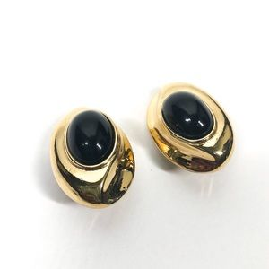 GIVENCHY Vintage Gold Tone & Enamel Clip Earrings